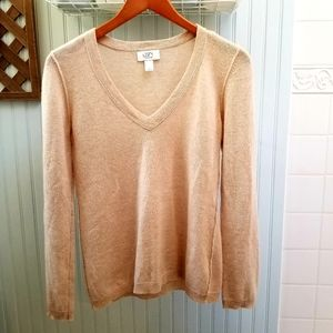 Loft 100% Cashmere Camel Colored V-neck Sweater